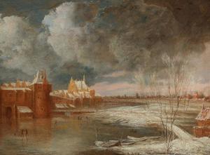 Winterlandschap bij Rotterdam met de Hofpoort en de oude Delftsche Poort
