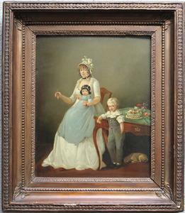 Portret van Cornelia Johanna Wilhelmina de Weerdt (1774-....) en haar kinderen Jan Paschasius van Stapele (1799-1867) en Catharina Emmerica van Stapele (1801-1861)