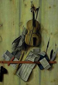 Trompe l'oeil met viool, muziekboek en blokfluit