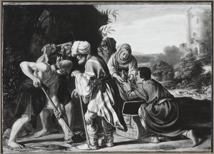Jacob begraaft de afgodsbeelden onder de terebint te Sichem (Genesis 35:4)