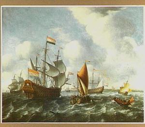 Hollandse schepen in een frisse bries met op de achtergrond een stad