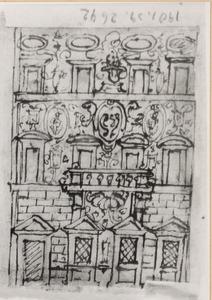 Ontwerp voor gevel van het Palazzo Pazzi dell' Accademia Colombaria, Borgo degli Albizi 28, Florence