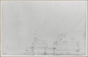 Fontein met beelden van twee liggende leeuwen