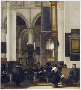 Interieur van een gotische kerk tijdens een preek