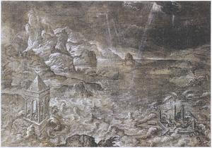 Bergachtig rivierlandschap met overstroming van een kapel