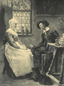 Een man en een meisje in een Hollands interieur