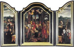 Stichter (Hendrik van Zurpele?) met zonen en de H. Heinrich von Uppsala (?) (links), de aanbidding van de Wijzen (midden), stichtster (Marie Cants?) met dochters en de H. Begga (?)