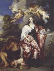 Allegorisch portret van Venetia Anastasia Stanley, Lady Digby (1600-1633) als Prudentia