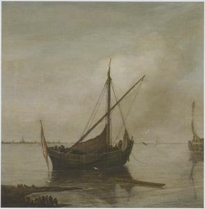 Smalschip voor anker