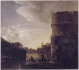 Zuidelijk landschap bij volle maan met vervallen toren aan een rivier