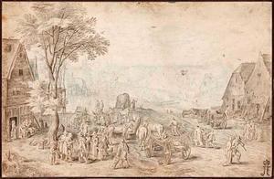 Dorpslandschap met figuren bij een pleisterplaats