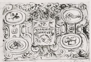 Moerbijboom met cartouche en de metamorfose van de zijderups