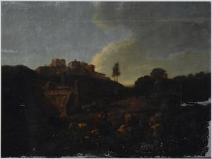 Zuidelijk landschap met herder en vee bij antieke ruïnes