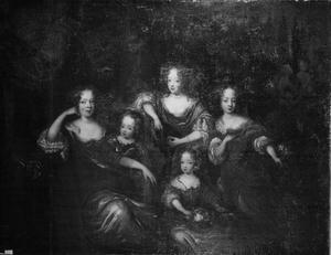 Groepsportret van de vijf oudste kinderen van Johann Georg II van Anhalt Dessau en Henriette Catharina van Oranje-Nassau