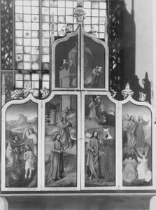De doop van Christus in de Jordaan, Christus in de woestijn (buitenzijde linkerluik); De verzoeking van Christus (buitenzijde rechterluik)