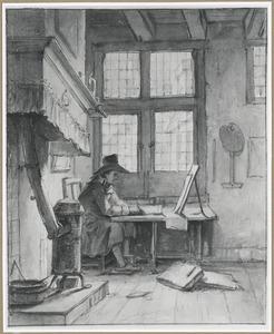 Kunstenaar tekenend in zijn atelier