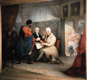 Portret van Valerius Lodewijk Vegilin van Claerbergen (1774-1844) en Pieter Benjamin Johan Vegilin van Claerbergen (1808-1879) met op de achtergrond diens kinderen