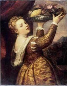Jonge vrouw met een schaal met vruchten