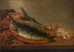 Visstilleven met haring, krab en ui