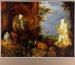 Vee, herten en andere dieren in een landschap met ruïne