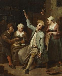 Drinkende mannen en vrouwen in een herberg