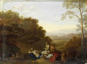 Italianiserend landschap met Diana en badende nimfen, bespied door Actaeon