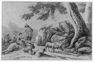 Bergachtig landschap met herder, herderin en schapen