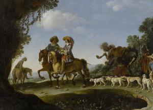 Ruiters met honden in een bebost landschap