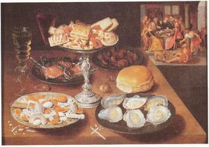 Stilleven van oesters en koekjes; op de achtergrond Lazarus en de rijke man