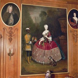 Portret van Margaretha Elisabeth Sophia van Stepraedt (?-1726), met een bediende
