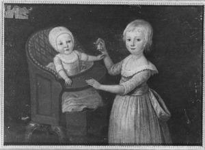 Portret van Margaretha Louise Wilhelmina van Oldenbarneveld genaamd Witte Tullingh (1785-1858) en Jean Louis Theodore Constantin van Oldenbarneveld genaamd Witte Tullingh (1790-...)