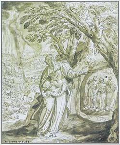 De vrouw van Lot ziet de ondergang van Sodom en Gomorra (Genesis 19:24-28)