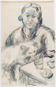 Jonge vrouw met poes aan tafel