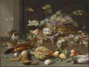 Stilleven van een mand met vruchten, jachtbuit en een kat