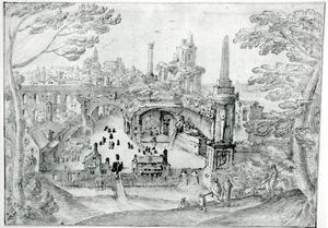 Fantasie landschap met antieke ruïnes