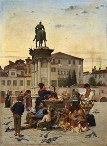 Fonteinscene op de Campo San Giovanni e Paolo  in Venetië met het ruiterstandbeeld van veldheer Bartolomeo Colleoni door Andrea Verrochio