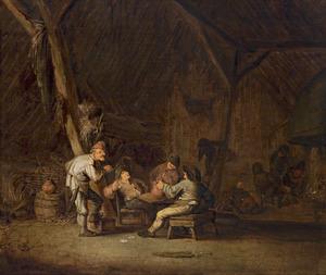 Drinkende en pratende boeren in een schuur