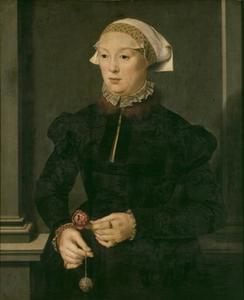 Portret van een vrouw met een pomander