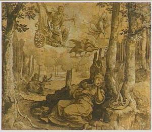 De slapende Callisto door Jupiter en Mercurius bespied; op de achtegrond Callisto, belaagd door de als Diana vermomde Jupiter (Metamorfosen 2:442-453)