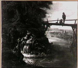 Vissend gezelschap bij een brug