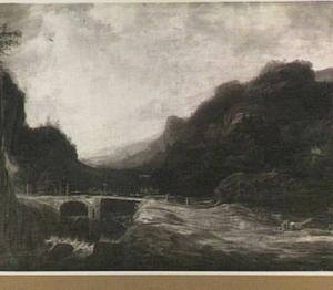 Berglandschap met brug over een waterval