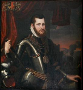 Portret van Wigbold Ripperda (1535-1573) met op de achtergrond het Beleg van Haarlem