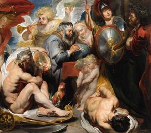 Allegorie van de wetenschappen: Minerva en Chronos beschermen de wetenschappen tegen afgunst en onwetendheid