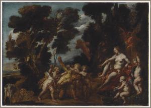 Venus en Cupido bestraffen een sater