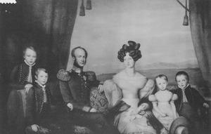 Portret van koning Willem II (1792-1849) als prins van Oranje met zijn gezin