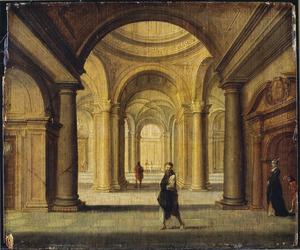 Kerkinterieur met wandelaars; op de voorgrond een monnik