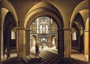 Interieur van de Paltskapel in de Dom te Aken