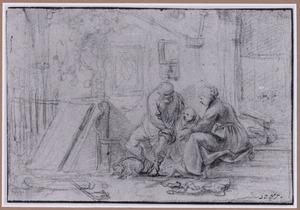 Man, vrouw en kind voor een huis