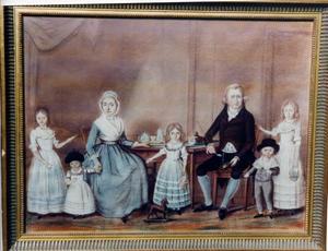 Portret van Bernardus Warnerus Roessing (1755-1843), Agatha Maria in den Bosch (1759-1823) en hun kinderen
