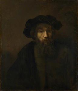 Halffiguur van een man met baard en baret